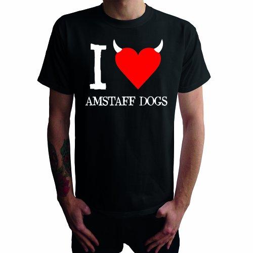 I don't love Amstaff Dogs Herren T-Shirt Schwarz