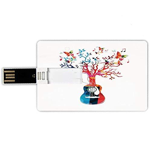 USB-Sticks 32GB Kreditkartenform Gitarre Memory Stick-Bankkartenstil Bunte Musikkomposition mit Gitarrenbaum und Schmetterlingen Künstlerische Inspiration,Multicolor Wasserdichte stift daumen schöne j