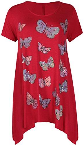 Damen Schmetterling Aufdruck Damen Stretch Uneben Zipfelsaum Rund U-ausschnitt Perlen Glitzer langes T-Shirt oben Übergröße Rot