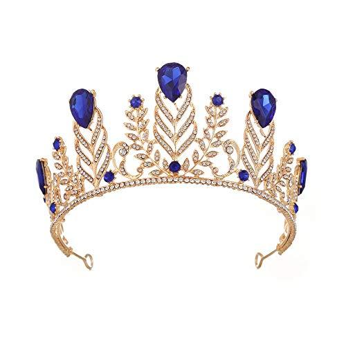 RXHCO Krone Tiara Krone Tiara Prom Queen Crown Quinceanera Festzug Kronen Prinzessin Crown Strass Crystal Bridal Crowns Diademe Für spezielle Soiree (Color : Blue)