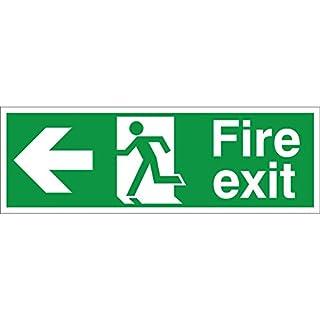Fire Exit Arrow Left Sign 300mm x 100mm - Self Adhesive (FE.03E-SA)