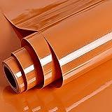 Papel pintado Autoadhesivo Perla Naranja Papel de contacto Durable Vinilo Película PVC Pegatinas de cocina Baño Estante impermeable Muebles Contador Mesa de pared Peel Stick 30cm * 3 m