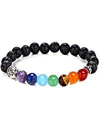 7 Chakra Pulsera, Healing Balanza de Pulsera Brazalete Elásticos Budistas de Curación Equilibrio Yoga Reiki Pulseras del encanto del Corazón (Estilo negro)