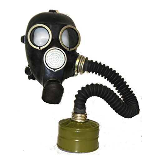 WW2 Gas Masks GP-7 in black with filter and black hose Soviet Russian NEW Vintage FUNY GIFT (Hose Russian Black)