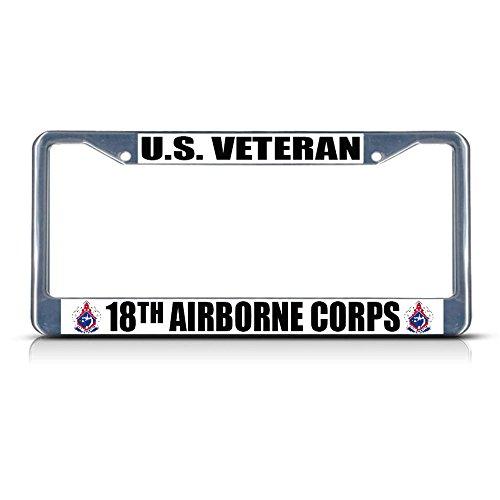 U.S. Veteran 18TH Airborne Corps Militär-Kennzeichenrahmen, Metall, ideal für Männer und Frauen, Auto-Garadge Dekor