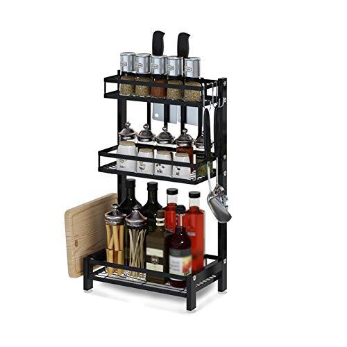 Küchenregale Organizer ZXLDP 3 Tier Spice Rack Countertop Organizer, Große Edelstahl-Küchen-Gewürz-Aufbewahrungsplatte, Schwarz (32,4 × 20,8 × 60,5 cm) (Organizer Countertop)