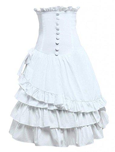 Cemavin Womens Cotton White Ruffle Layered Lolita Skirt (White Womens Importiert)