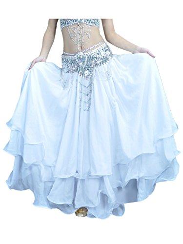 Damen Bauchtanz Rock dreischichtige Chiffonrock Tanzrock (ohne Gürtel) Weiß