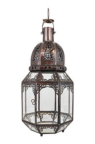 Orientalische Laterne aus Metall & Glas Haifa Klar 45cm groß   Marokkanische Gartenlaterne für draußen, Innen als Bodenlaterne   Marokkanisches Gartenwindlicht Windlicht hängend oder zum hinstellen