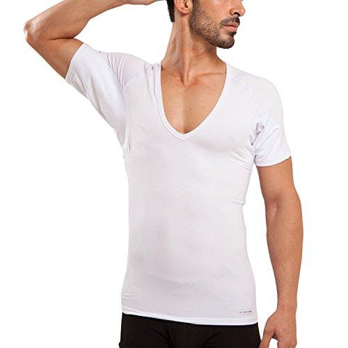 Ejis Schweißfestes Herren unterhemd mit Schweißeinlagen, antimikrobiellem Silber und tiefem Mikromodal-V-Ausschnitt (X-Groß, Weiß) - Modal-unterhemd