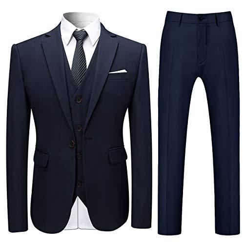 Allthemen Herren Slim Fit 3 Teilig Anzug Modern Sakko für Business Hochzeit Party Marineblau Large