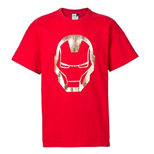 Iron Man T-Shirt Helm metallic Print rot [XL] (Helm-t-shirt)