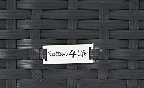 Rattan4Life 4-teilig Neapel Deluxe Polyrattan Gartenmöbel Set, Sofa / Lounge / Gartengarnitur / Kissenbezug, schwarz / rot - 6