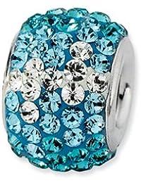 Broche de plata de ley teniente azul de cristal de cuenta de dura - JewelryWeb