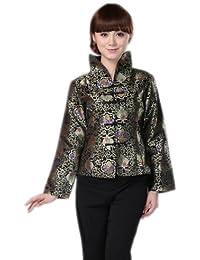 ACVIP Donna Broccato Vestito Cinese Disegno Fiore a Collo in Piedi Maniche  Lunghi Tangzhuang f5f96a8d5d5