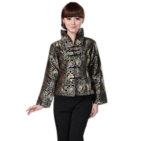 ACVIP Donna Broccato Vestito Cinese Disegno Fiore a Collo in Piedi Maniche Lunghi Tangzhuang Turchese