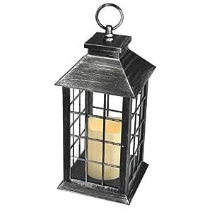 gartenlaterne inklusive led kerze mit timerfunktion 14x14x34cm led licht mit 6h timer windlicht. Black Bedroom Furniture Sets. Home Design Ideas