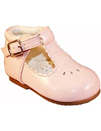 a2a05b01ca5f Sevva Baby Infant Girls Spanish Style Patent T-Bar Faux Leather Non Slip  First Walking Shoes White