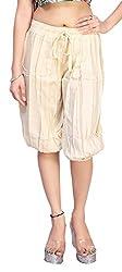 Comix Cotton Rayon Fabric Women Solid 3/4 Harem (AGSPL-3146-VTE-SH-10-LIGHTBEIGE-XL)
