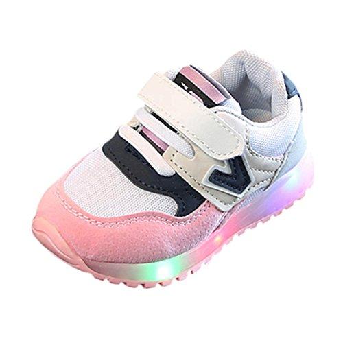 FNKDOR Kleinkind Baby Jungen Mädchen Kinder Turnschuhe Leucht LED Licht Wanderschuhe (21, Pink)