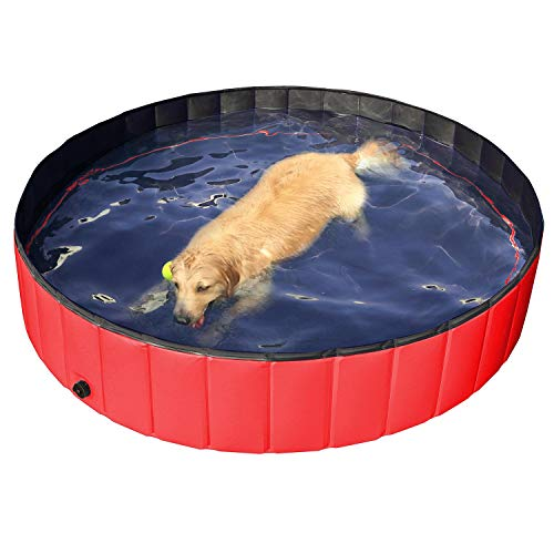 Yaheetech Foldable Pet Dogs Swimming Pool Puppy Bathing Tub Red Children Kid Ball Water Ponds (Dia 160cm)
