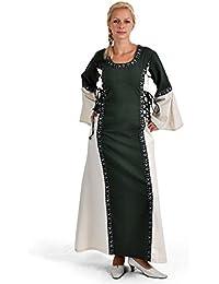 Vêtements Moyen-Âge - Robe Tyra, bordures élégantes, 3 cordelettes - Vert et nature
