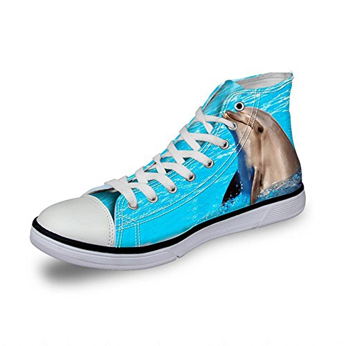 NSX Punta rotonda delle donne High Top Lace-Up 3D Printing Canvas Casual Athletic Skate Scarpe Flats , 38 , 008 005-37