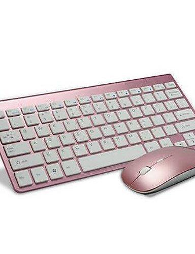 2.4GHz Büro-Spiel Tastatur 2400DPI Maus und Ladegerät 3Teile ein mit Wireless rose rosa