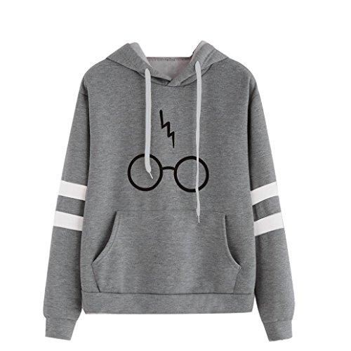 Damen Langarm Rundhals Kapuzenpullover Gläser Druck Hoodie Tasche Sweatshirt Pullover mit Kapuzen (Grau, L)