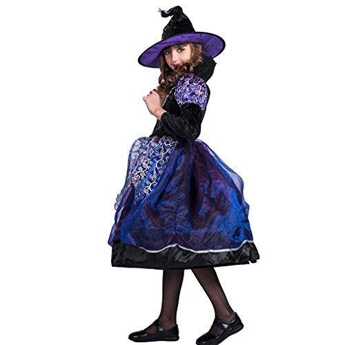 (EraSpooky Mädchen Flieder Lila Hexe Kostüm Lang Halloween Kostüm Party)