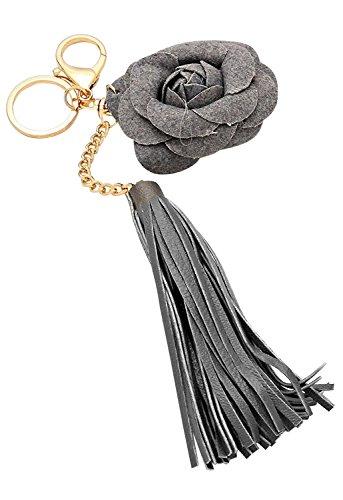 Rosemarie Kollektionen Damen-Charm Schlüsselbund Handtasche Kunstleder grau Quaste Blume (Leder Kollektionen Aus Handtaschen)