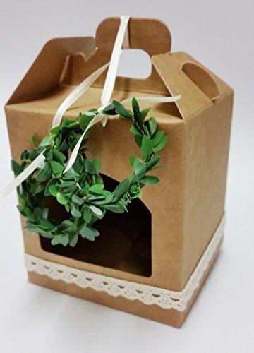 5 Gastgeschenke Hochzeit Vintage Geschenkbox mit Spitze/natur (2 Buchsbaum Ringe) (Buchsbaum Ring Hochzeit)