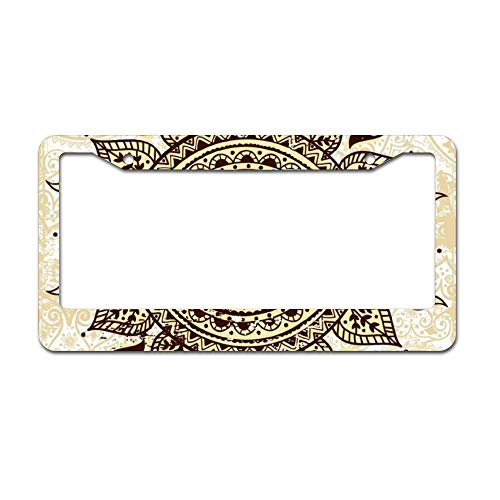DKISEE Ethnic Ornamental Sun Chrome License Plate Frame Metal Auto License Plate Frame Car Licenses Plate Cover Holder for US Vehicle 6 x 12 inch