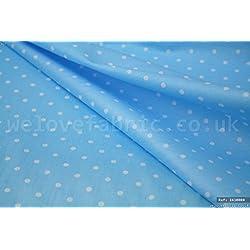 Lunares blancos en azul 100% algodón tela por metro ancho de 1,6M