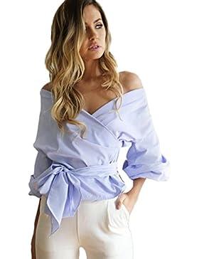 Mujeres de blusa de hombro, Internet Mujer vendaje de hombro casual blusa de cuello en V