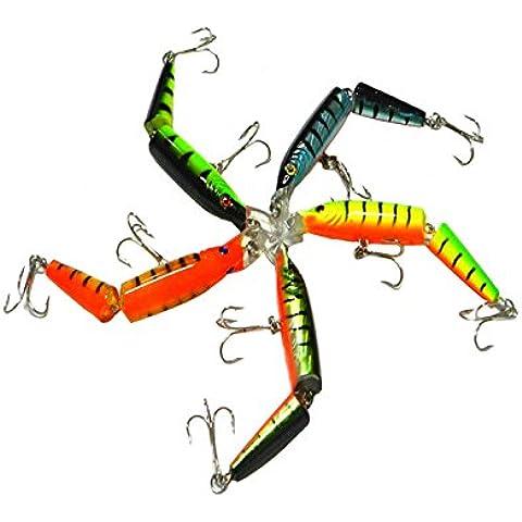 Evilandat Kit De 5 Señuelos Swimbaits Pece Articulado Equipamiento De Pesca 2 Ganchos Ojo 3D Ganchillo Fuerza