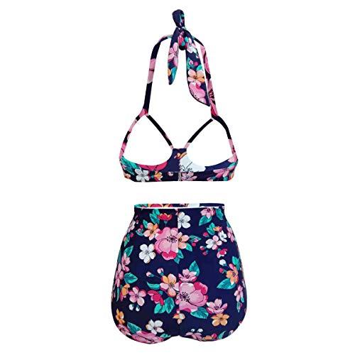 Yvonnelee Damen Sommer Einteilig Badeanzüge Push Up Bauchweg Strap Strand Schlankheuts Bademode Swimsuit XXXL - 4