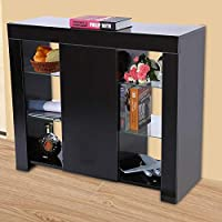 GOTOTOP Sideboard Cabinet, Modern Storage Cabinet Display Cupboard Sideboard with LED Strip Remote Control for Home Living Room Decor, 97.5x35x83.5cm (Black)