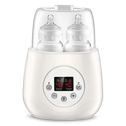 Flaschenwärmer Baby Bottle Warmer 5-in-1 Doppel Flaschen Sterilisator und Babykostwärmer LCD Voreingestellte Baby Lebensmittel Heizungsgert Voreingestellte Funktion mit Automatische Abschaltung