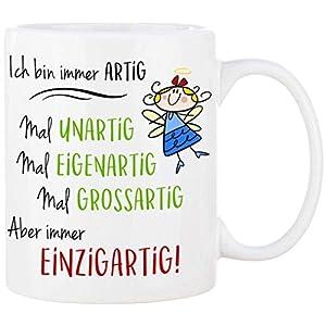 Cadouri Tasse mit Spruch ICH BIN EINZIGARTIG Kaffeetasse Bürotasse Sprüchetasse - 300 ml