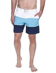 Zobello Mens Swim Shorts (41005A_White Blue Navy_Small)