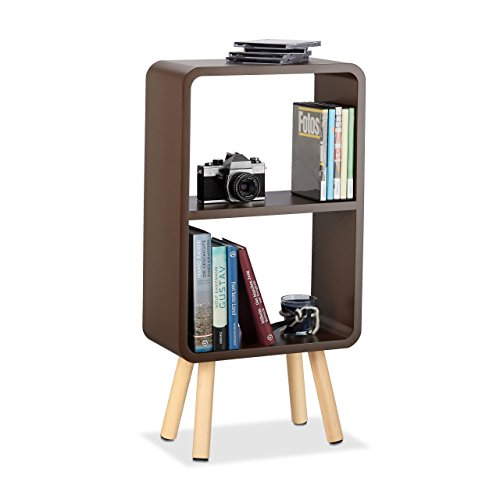 Relaxdays 10021931_93 scaffale a 2 ripiani, libreria per soggiorno o cameretta, gambe in legno, angoli arrotondati, marrone