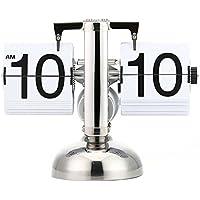 Asvert Orologio Retro Flip Clock Orologio da Tavolo Orologio da scrivania in Metallo Orologio da scaffale Auto Scale di Regolabile Bianco