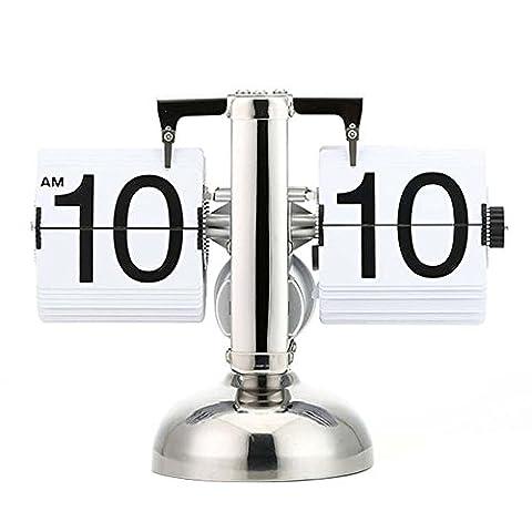 Asvert Flip Uhr Wecker Schreibtisch Regal Design retro Uhr Shelf Auto Flip Retro Digital Interne Getriebe Operiert Tisch Uhren Edelstahl Standuhr (Weiß)