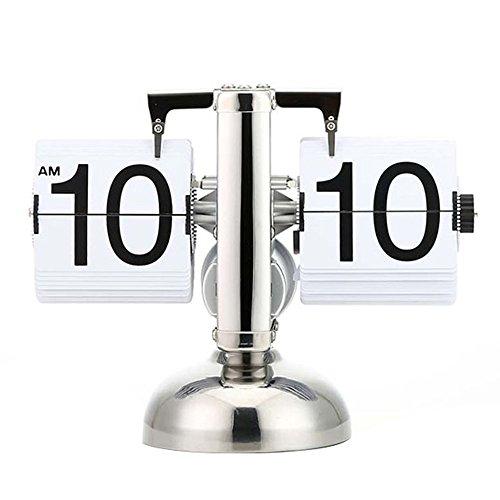 Asvert Flip Uhr Wecker Schreibtisch Regal Design retro Uhr Shelf Auto Flip Retro Digital Interne Getriebe Operiert Tisch Uhren Edelstahl Standuhr (Weiß) Digitale Flip-uhr