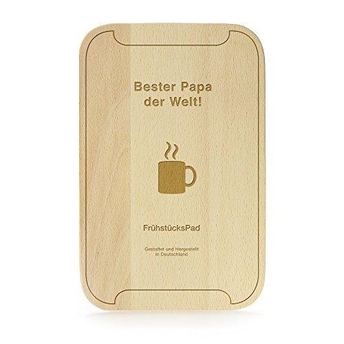 FrühstücksPad mit Gravur - Bester Papa der Welt - Frühstücksbrettchen im Tablet-Look - Brotbrett aus Buchenholz - Lustige Geburtstagsgeschenke - Holz Schneidebrettchen Bei&tphone