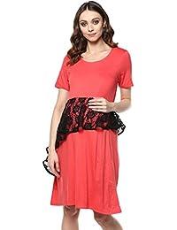 Mine4nine Women's Green Assymetric Peplum maternity dress