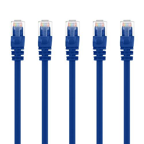 Preisvergleich Produktbild GearIT 50-Pack,  CAT5e-Patchkabel Ethernet 1, 5 Füße - 5E RJ45 LAN Netzwerkkabel für Computer,  Blau - kompatibel mit 48-Port PoE Gigabit Switch Rack-Einbau 4' (5-Pack) blau