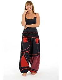- Sarouel grande taille Samskara noir et rouge -
