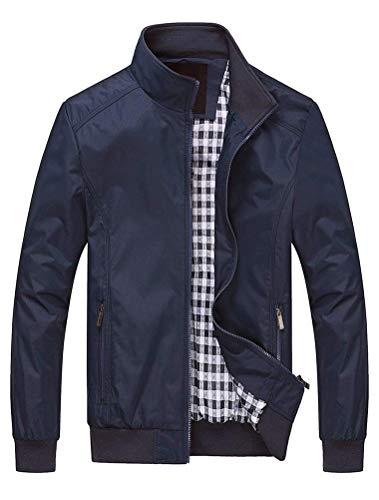 Lavnis Herren Bomberjacke Übergangsjacke Leichte Jacke Casual Mäntel mit Stehkragen Style1 Dark Blue 2XL